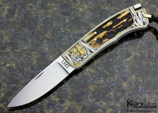 "Ron Lake Custom Knife Stag Interframe Tail Lock ""Tiger ""Engraved by Ray Cover Jr.."