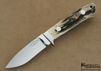 Bob Loveless Custom Knives Stag Riverside Football Logo Drop Point Hunter