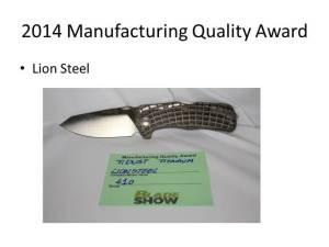 2014 Manufacturing Quality Award