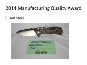 2014 Manufacturing Quality Award