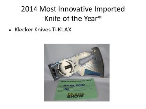 2014 Most Innovative Imported Knife of the Year